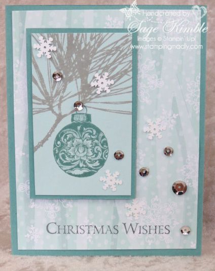 See some great design tips about this handmade Christmas Card using the Ornamental Pine Stamp Set and All is Calm Designer Series Paper from Stampin' Up!