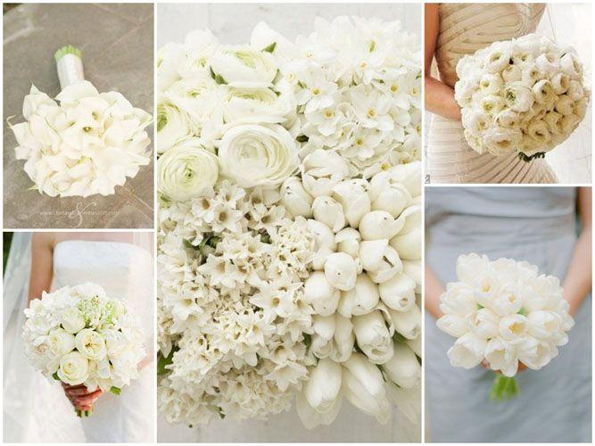 Buchetul miresei din flori albe