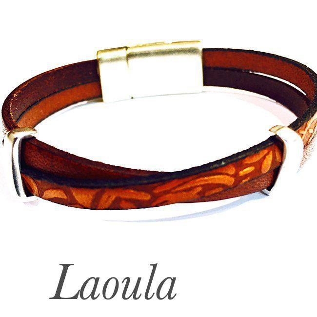 Bracelet en cuir homme deux lacets différents 267492