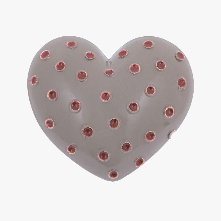 "Ceramic Heart Handmade, Wall Art Decor Ornament, Glossy Grey Love Gift 7"" (18cm)"