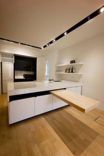 Barra de ayuda para cocinas con poco espacio.  http://hogaresfrescos.blogspot.mx/2014/09/12-mostradores-de-cocinas-con-estilo-que-parecen-flotar-en-el-espacio.html?utm_source=feedburner
