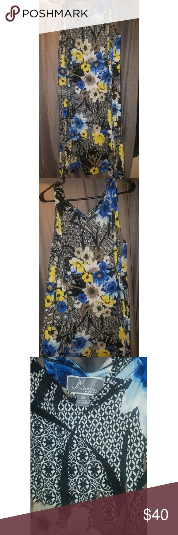 JM Floral Scuba dress 2x JM dress with blue and yellow floral prints set against black and white. Super soft material that resembles a bodycon dress. Purchased from Macy's. Used only once for an interview (I got the job!). Dresses Strapless