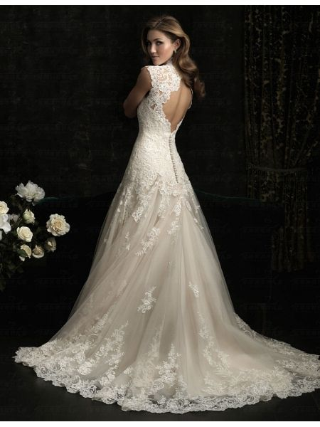 2013 neue sexy Bestnote Meerjungfrau blackless und tiefem V-Ausschnitt-Spitze Hochzeitskleid BDK004