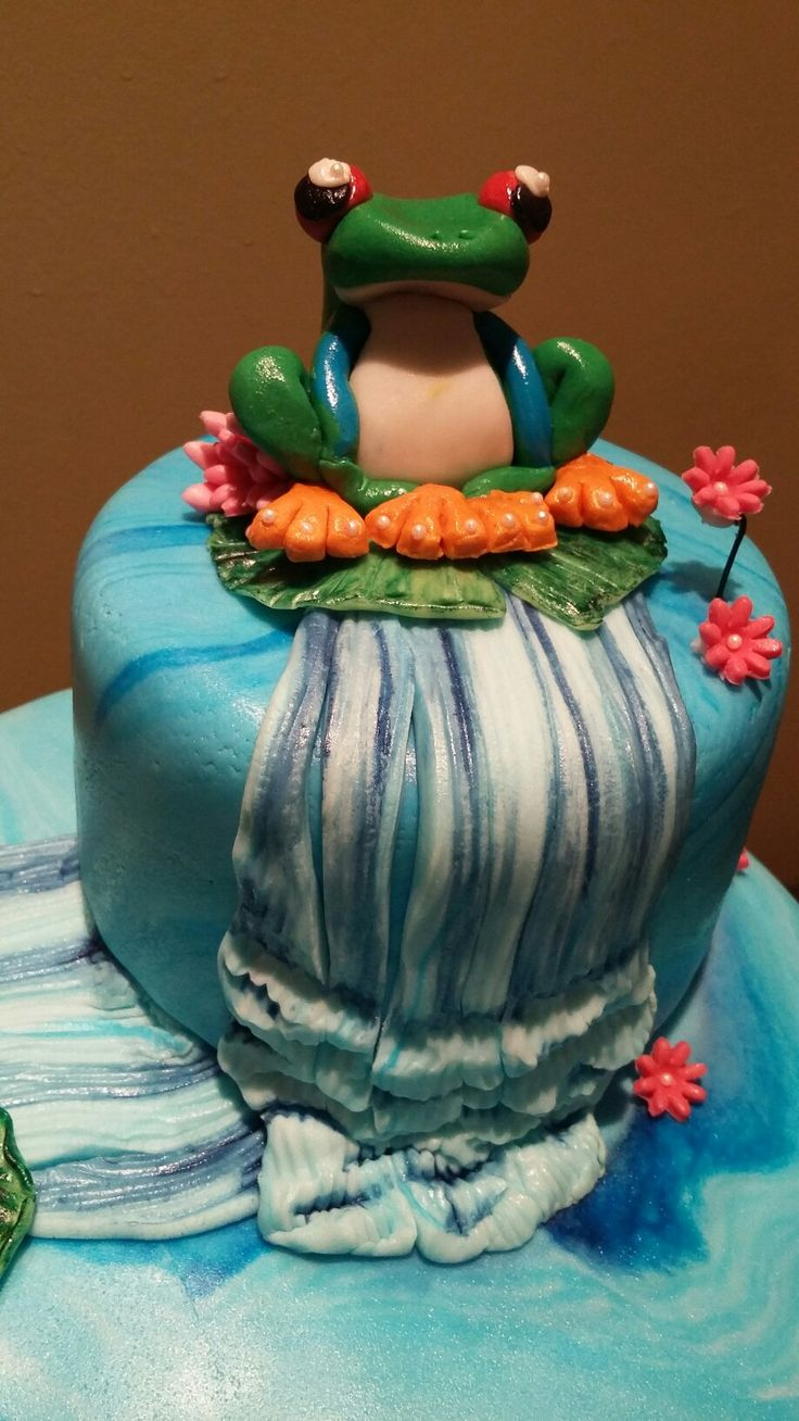 Frog and lillypads cake, fondant frog, hand painted waterfall, edible decorations by Danielle Smith ( Rockylicious Cakes )