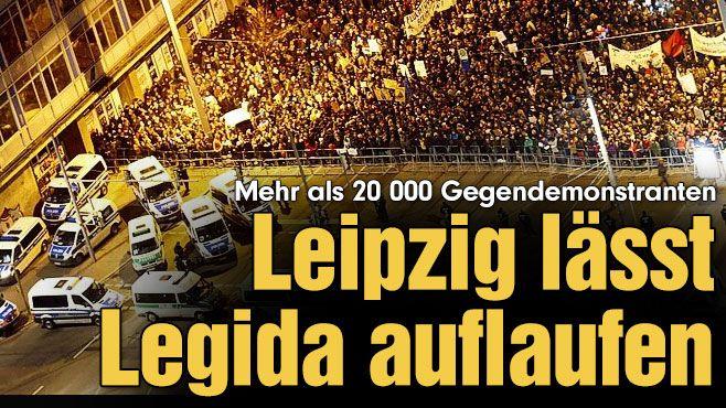 Über 20 000 Gegendemonstranten auf der Straße – und der Pegida-Chef schmeißt hin! Leipzig lässt Legida auflaufen http://www.bild.de/regional/leipzig/pegida/leipzig-laesst-legida-auflaufen-39444746.bild.html Verletzte http://www.spiegel.de/politik/deutschland/legida-demo-in-leipzig-polizisten-bei-ausschreitungen-verletzt-a-1014310.html Islam http://www.spiegel.de/politik/ausland/islam-ibrahim-quraishi-ueber-gewalt-im-namen-des-islam-a-1013670.html