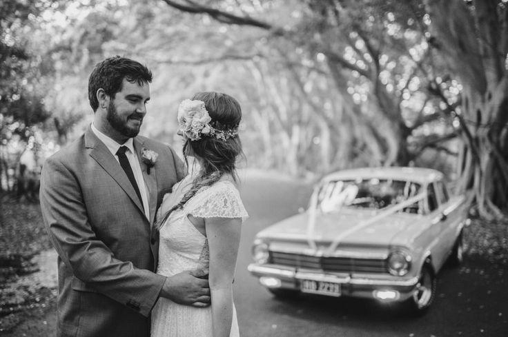 boho wedding car