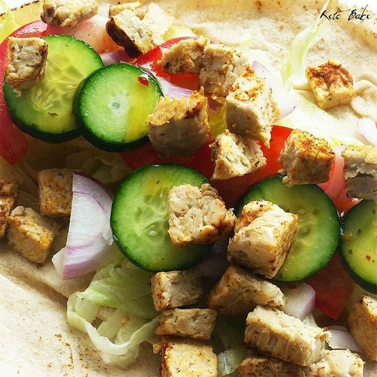 Cajun tempeh, garden salad with mango and chili dressing in a wholemeal flatbread wrap. Yep, that was my lunch today. #ketobabe #ketobaberocks #vegan #tempeh #protein #fatloss #fatlossjourney #weightlossjourney #weightlosstransformation #weightloss