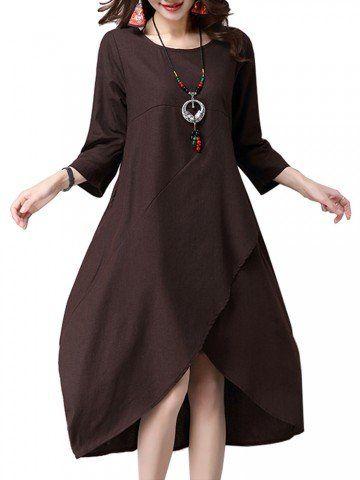 Vintage Women Irregular Hem Patchwork 3/4 Sleeve Solid O-neck Cotton Linen Dress Shopping Online - NewChic