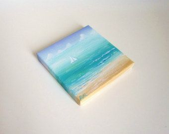 Summer at Mediterranean Sea, Origianl Mini Painting, Blue Sea, Sail Boat 3x3 Canvas Art