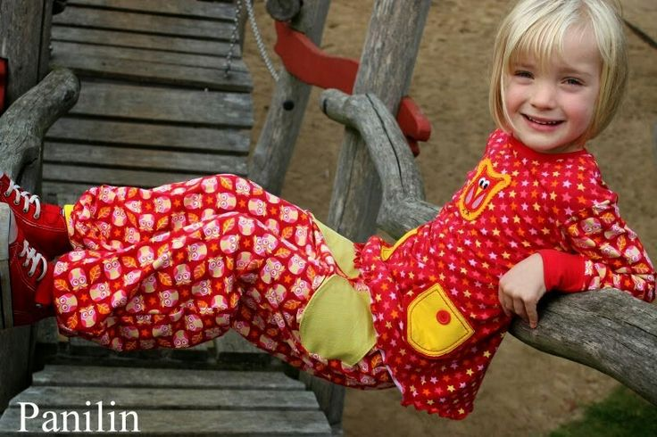 """So ne süsse Kombi und dieses Foto vor allem! Herrlich! Genäht von Aylin, www.panilin.blogspot.de Mia Maigrün """"Eulenquartett rot"""""""