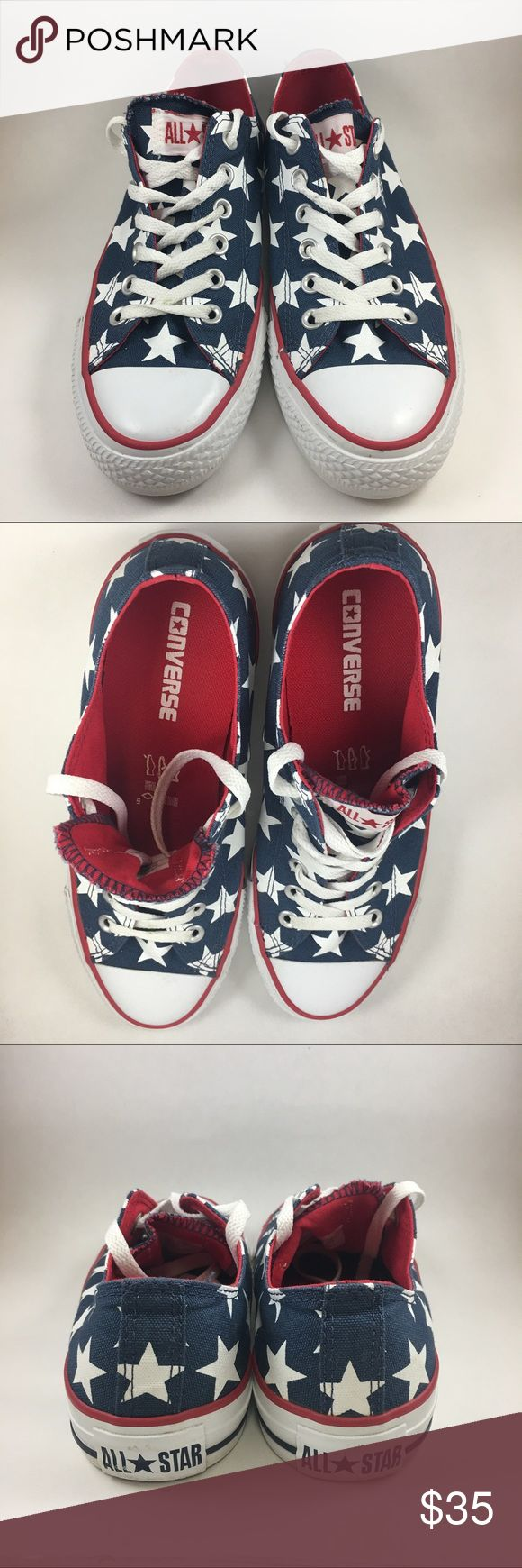 All Star Converse Chuck USA Flag Shoes Women 8 Low Beautiful American Converse Shoes! No Chuck Taylor Sign. Small grass stain on laces and minimal marks. See pictures for all details.  #141 Converse Shoes Athletic Shoes