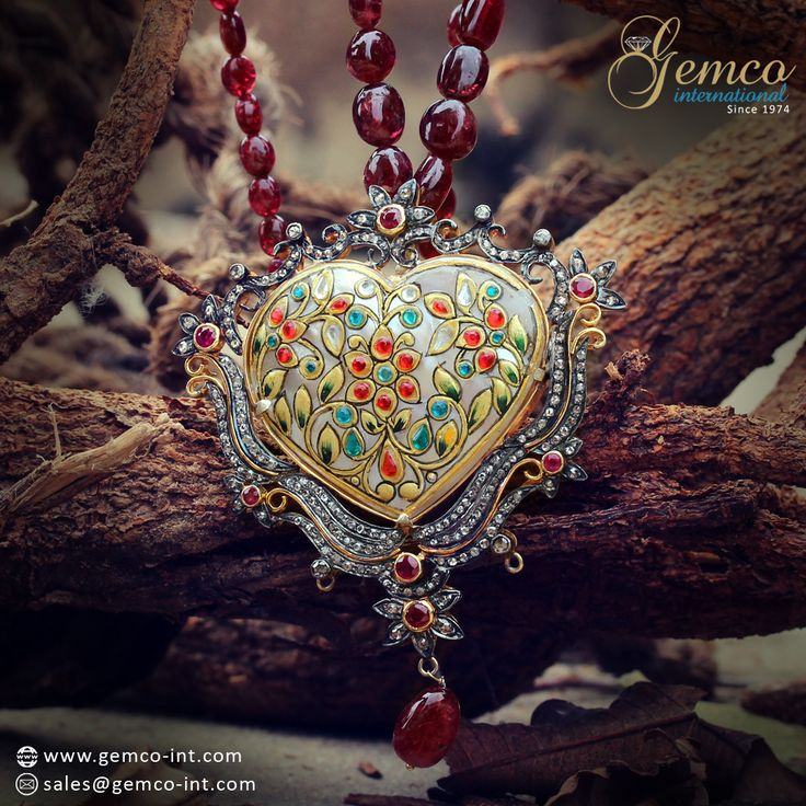 Heart Shaped MOP Designer Diamond Ruby Beaded Necklace