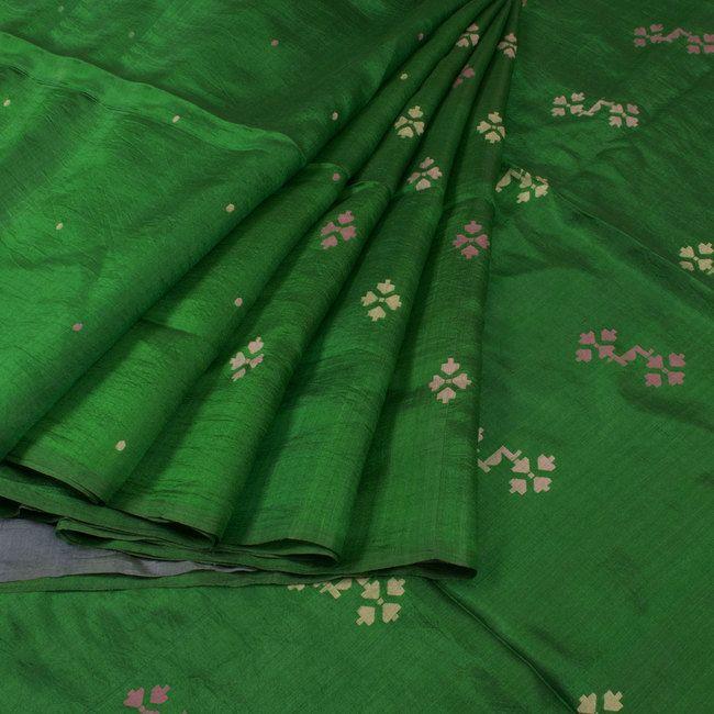 Buy online Handwoven Green Khadi Jamdani Silk Saree With Floral Motifs 10013780