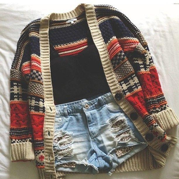 ripped shorts + black tank + grandpa cardigan