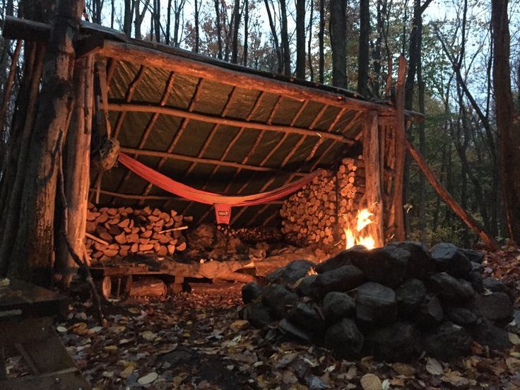 A lean-to with hammock and reflective fire.