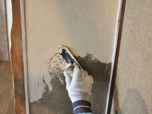 漆喰壁塗り状況