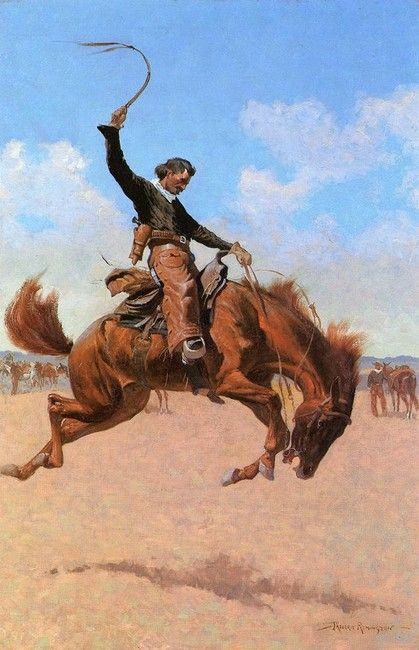 Image detail for -Frederic Remington >> The Bronco Buster   (Oil, artwork ...