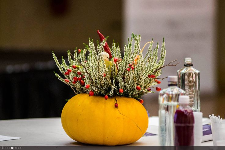 Floral pumpkin Nutrition Conference centerpiece by Atelier Floristic Aleksandra concept Alexandra Crisan