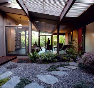 Eichler mid century modern home: The Briscos' calm Asian-style atrium garden.