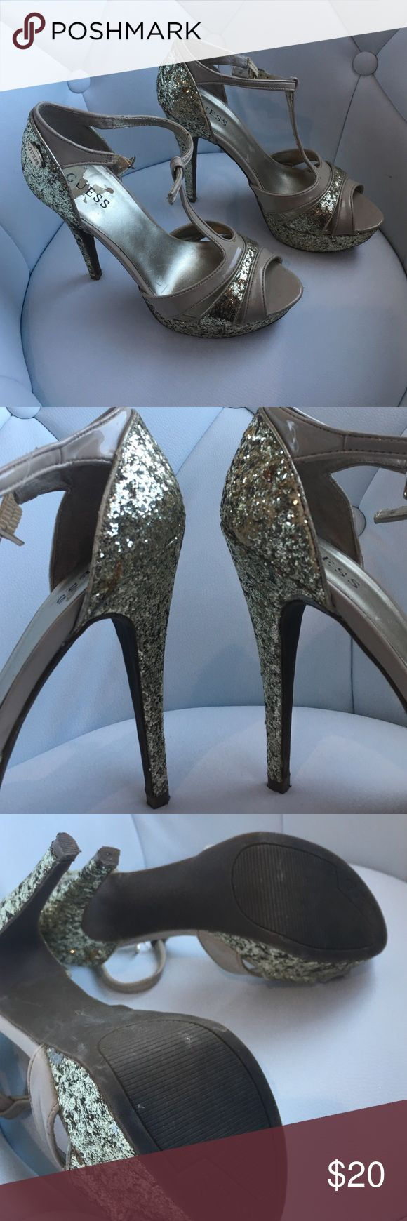 👠Guess gold sparkly shoes Gold sparkly Guess shoes. Only worn once to a wedding. Some sparkles are missing, as shown in photos! Guess Shoes Heels