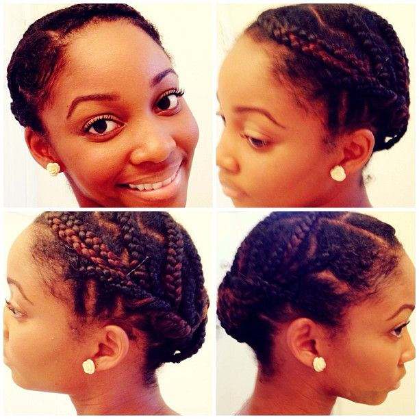 Air dried hair. Moisturize and seal. Gel on edges and ends. Grease between braids. Wrap daily.