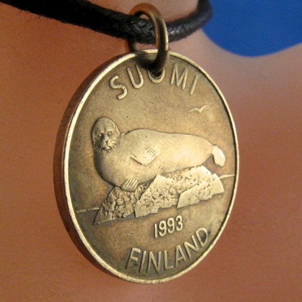 COIN JEWELRY FINLAND necklace . finnish. seal. lily pad. dragon fly. suomi. 5 markka. mark. 1993 No.001123. $14.95, via Etsy.