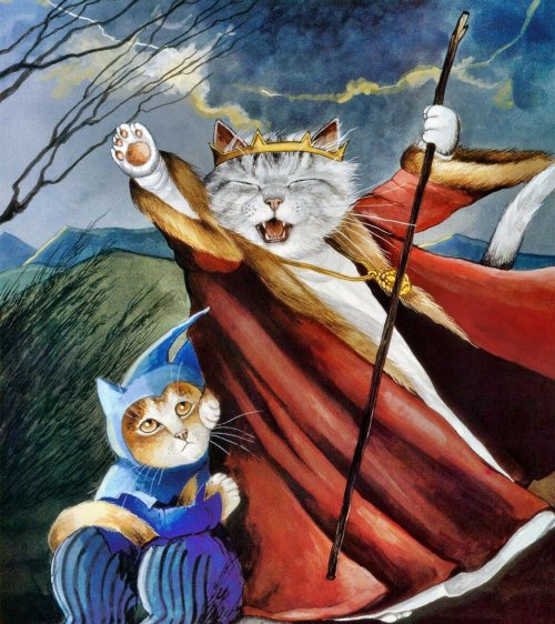"Susan Herbert's ""Shakespeare Cats"" combines famous scenes from the Bard's plays with the internet's favorite animal. Seen here: an expressive King Lear."