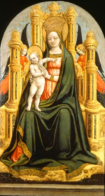 The Virgin and Child Enthroned with Two Angels // 1449-1450 // GIOVANNI D'ALEMAGNA //  PADUA, VENETO, ITALY// Museo Poldi Pezzoli
