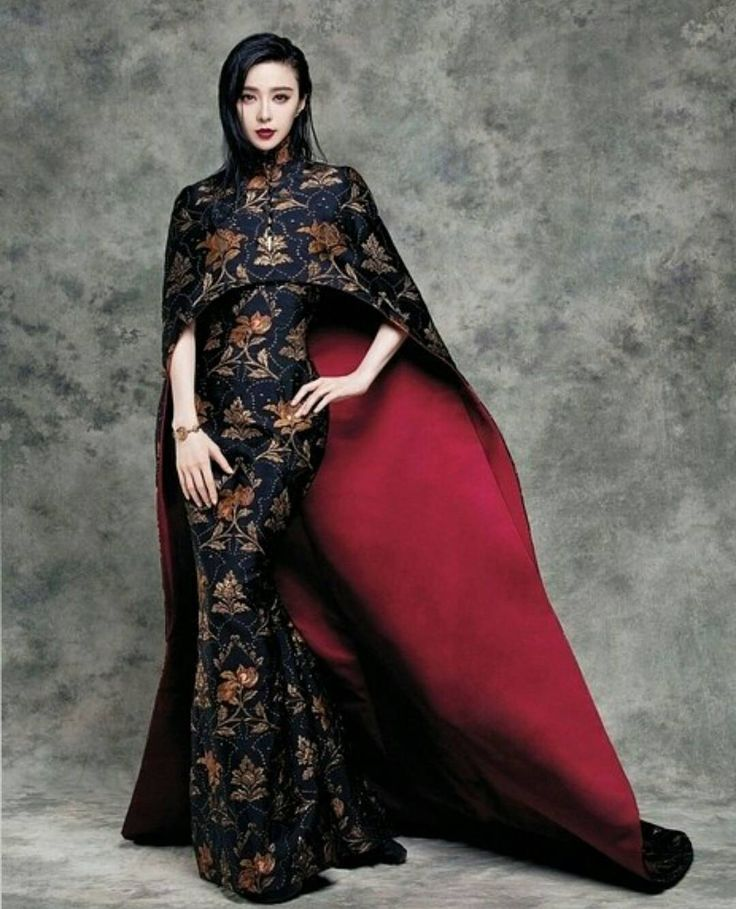 """""""Stunning actress #FanBingbing wearing a #HauteCouture silk cape coat and gown embellished with gold and silver pomegranate brocades for @taiwanvogue"""""""
