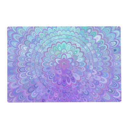 Mandala Flower in Light Blue and Purple Placemat - kitchen gifts diy ideas decor special unique individual customized