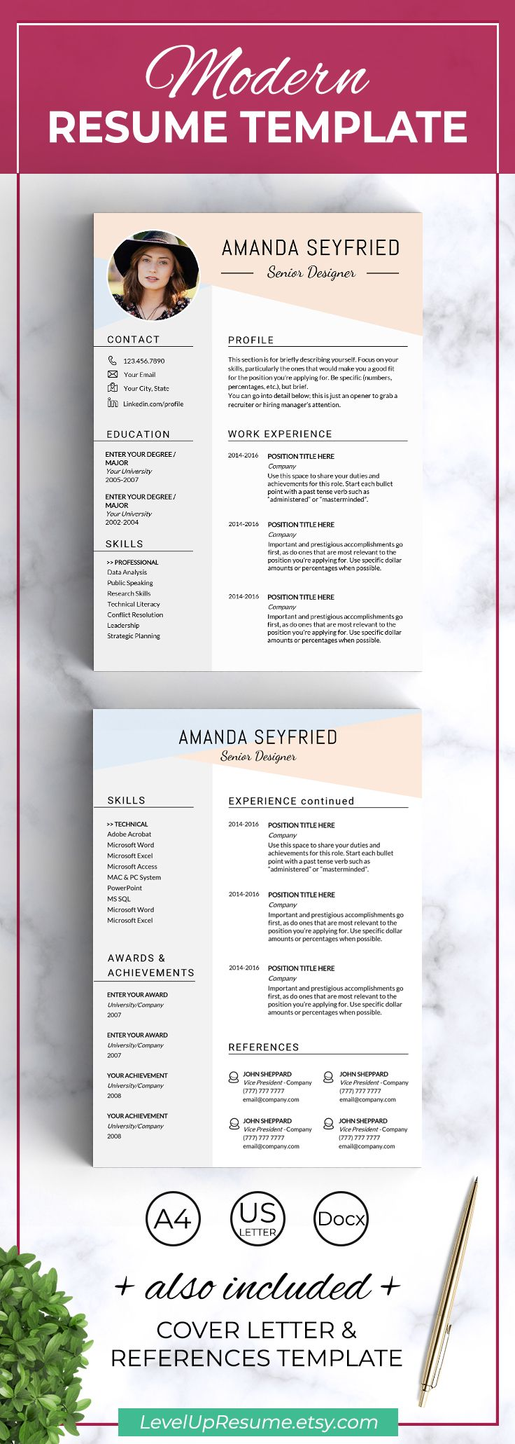 Check out my new creative RESUME TEMPLATE for Microsoft Word in A4 and US Letter size.    Includes Resume Template + References + Cover Letter + Instructions Guide.  #resume #resumetemplate #job #career #jobsearch
