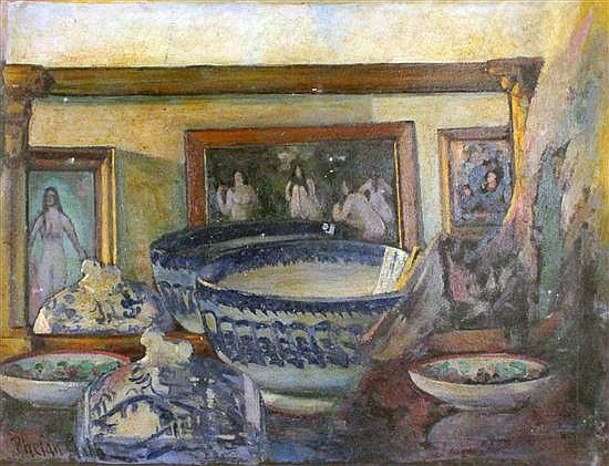 <b>Harry Phelan Gibb (1870-1948)</b> <br  /> oil on paper, <br  /> Still life of ceramics and nudes, signed, 17 x 23in. a similar oil of steeplechasing and a watercolour still life, all unframed. <br  />
