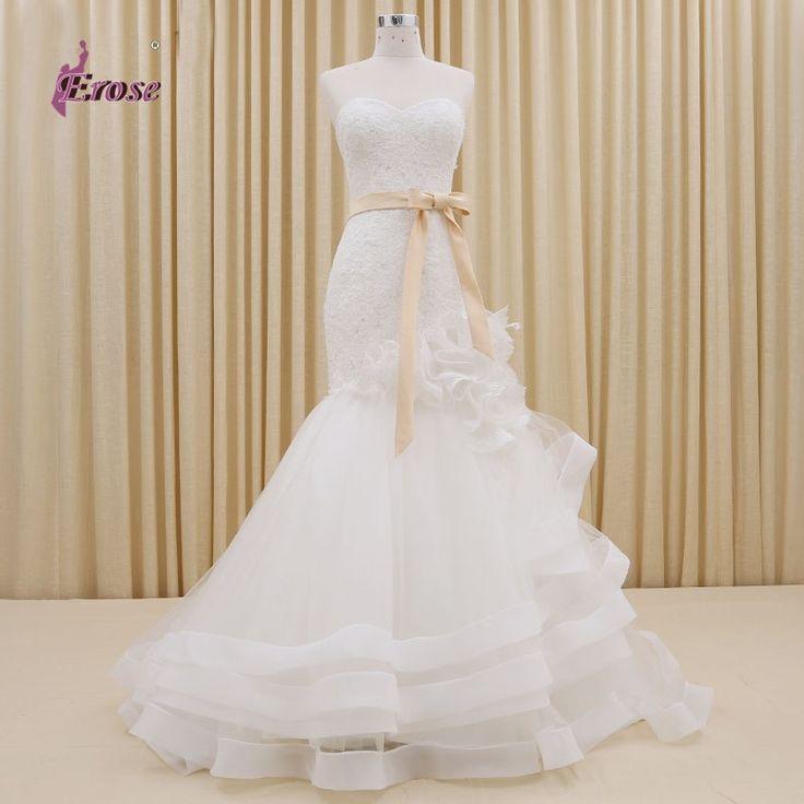 Aliexpress.com: Acheter Robe de noiva queue de poisson à Long robes de mariée élégante fleurs dentelle sirène robes avec Champagne Sash CFYW023 de robe en latex fiable fournisseurs sur 100% Satisfaction-Suzhou Erose Wedding Dress