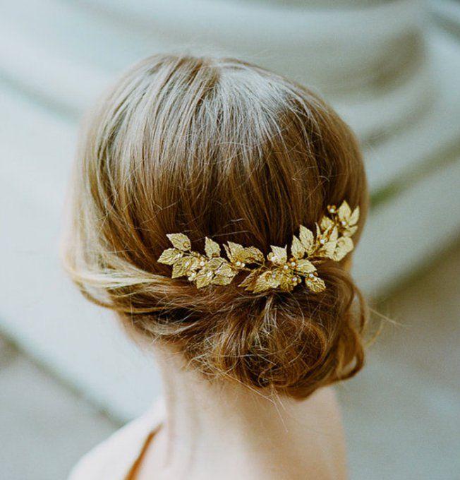 Accessoire cheveux mariage : Barrette à feuilles dorées de The Wild Rose Accessories