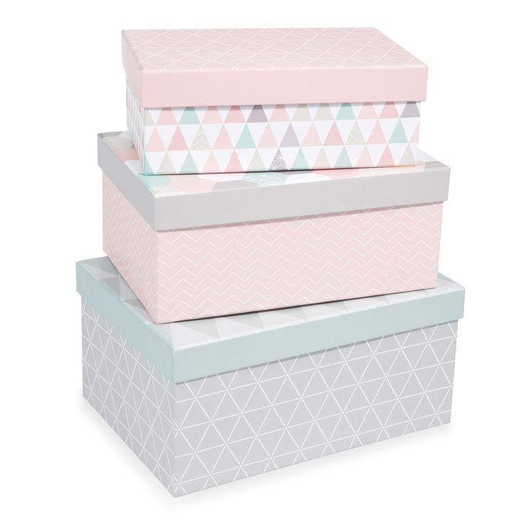3er-Set rechteckige Schachteln ZOÉ aus Karton, B 19/21/23 cm