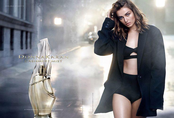 Donna Karan Cashmere Mist Fragrance advertisement with Andreea Diaconu