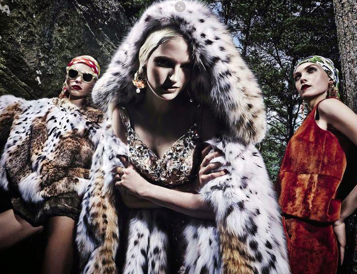 Vika Falileeva, Siri Tollerød & Helena Greyhorse by Steve Hiett for Vogue Italia Alta Moda