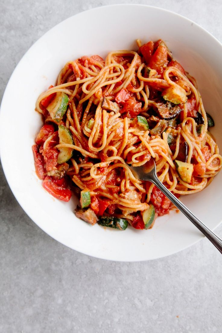 Ratatouille Spaghetti (Vegan + GF) | @andwhatelse