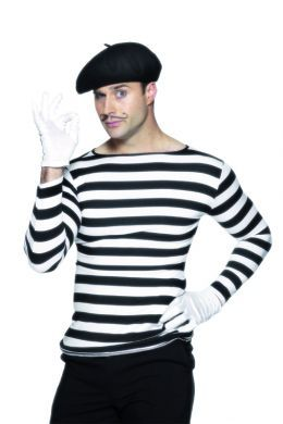 Baeloch incognito as French artist Francois Parfait ... wide stripe shirt, basic pants and shoes, dark beret, thin moustache