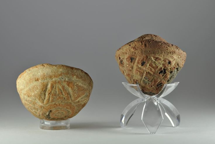 Roman Egyptian pottery baskets, 1st-4th century A.D. Roman Egyptian pottery basket  shaped vessels with decorated bases, 6 cm high max. Private collection