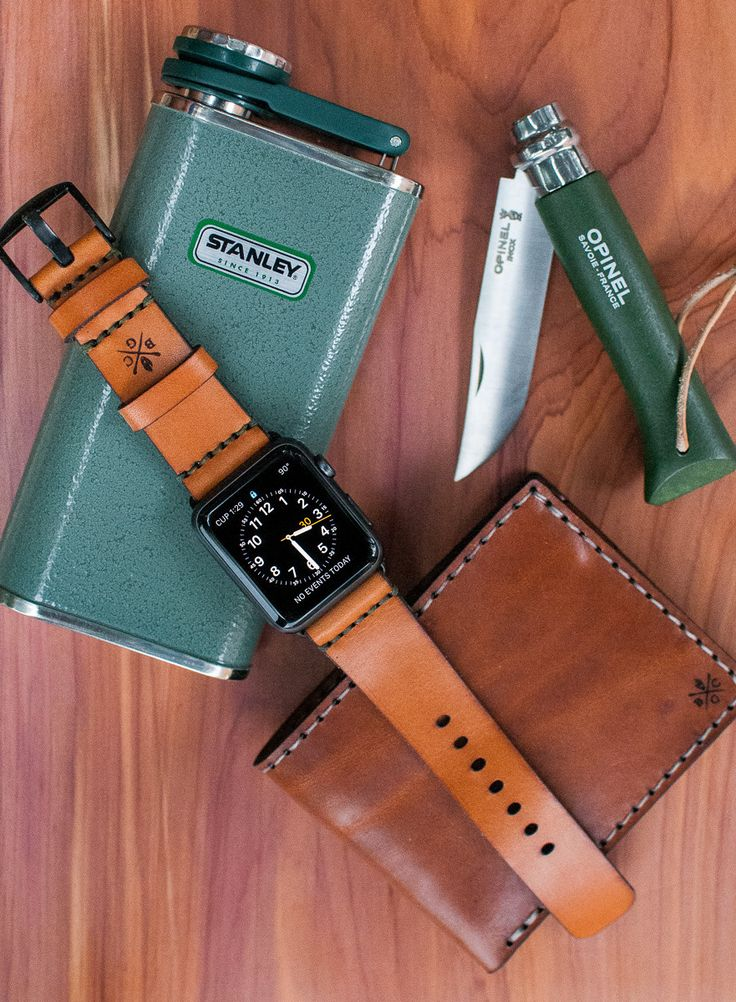 Apple Watch Strap - Genuine Leather. Can be matched to Black, Stainless Steel, or Aluminum Sport watch. Tan or dark brown.
