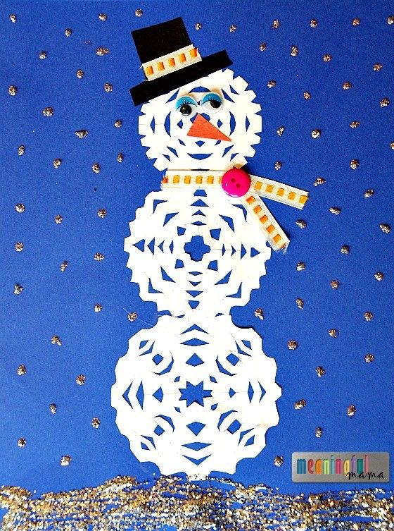 Snowman Snowflake Craft for Kids  - combine paper cutting and snowman building!