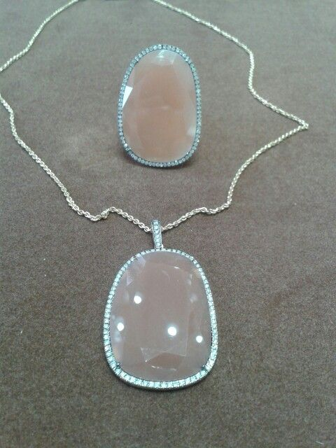 Handmade Ring and Pendant. K18 (750) Gold, Double Rose Cut Orange Moonstones and Diamonds.
