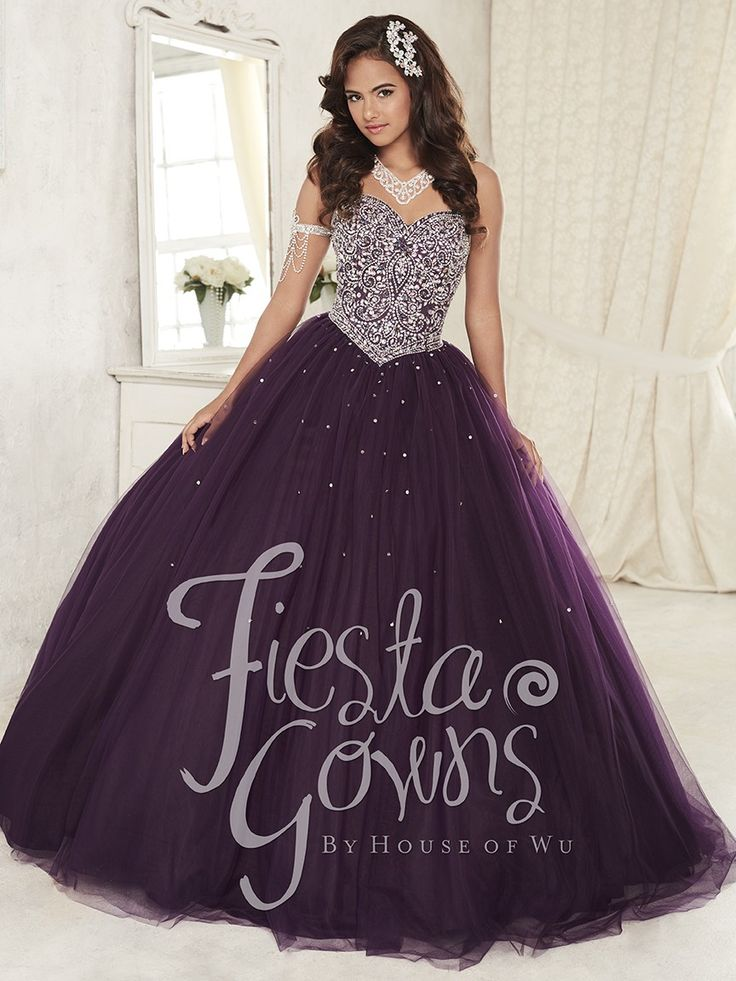 Fiesta 56296 Purple Jeweled Sweetheart Ball Gown - Quince Dresses - Quinceanera - Sweet 15