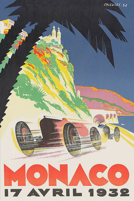 Canvas gallery wrap giclee vintage racing poster monaco 1932 grand prix