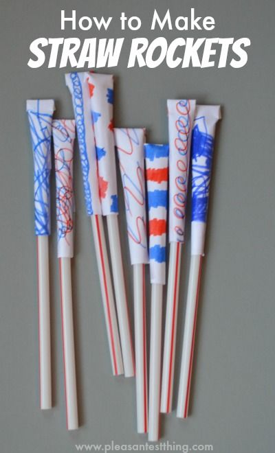 How to make DIY straw rockets for hours of kids' fun! Simple and easy to make, with materials you already have on hand!