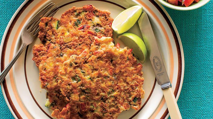 Poh's somewhat Mexican corn and zucchini fritters - yum!