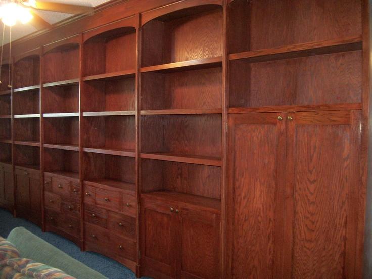 Custom oak bookshelves
