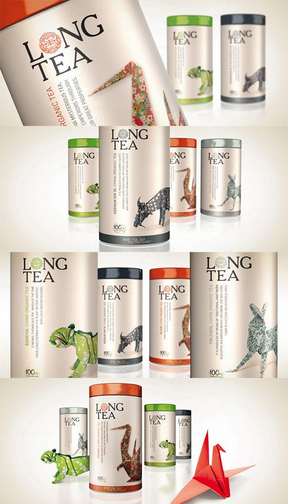 """Long Tea"" Origami inspired Chinese tea packaging, manufactured by Next Food  