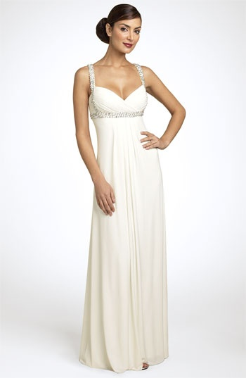 JS Boutique Beaded Crisscross Matte Jersey Gown available at Nordstrom